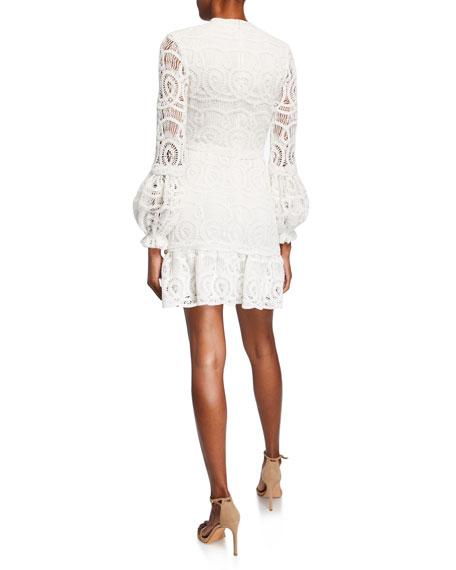 Liliyan Balloon-Sleeve Mini Crochet Dress