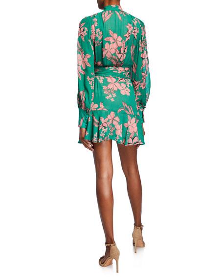 Tisdale High-Neck Floral Button-Front Dress