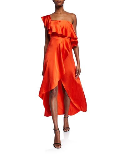 Austyn One-Shoulder Silk Dress