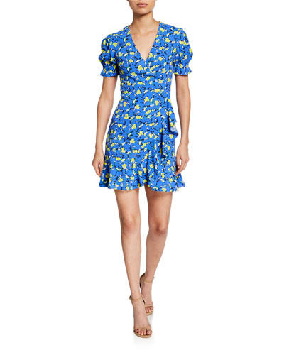 Emilia Floral Short-Sleeve Wrap Dress