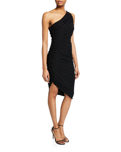4b7cb25b9282 One-Shoulder Ruched Asymmetric Jersey Dress Quick Look. Halston Heritage