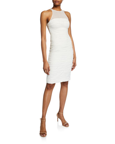 e9e215be1a5 High-Neck Sleeveless Ruched Cocktail Dress Quick Look. Halston Heritage