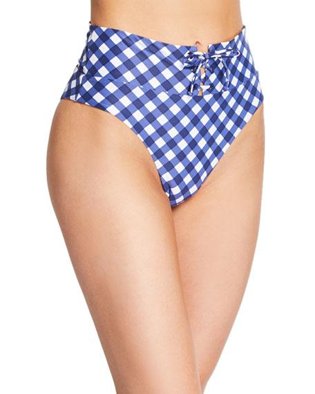 Susana Gingham High-Waist Bikini Bottom