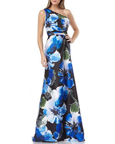 cf1901ff1de5 Floral-Printed One-Shoulder Mikado Gown Quick Look. Carmen Marc Valvo  Infusion