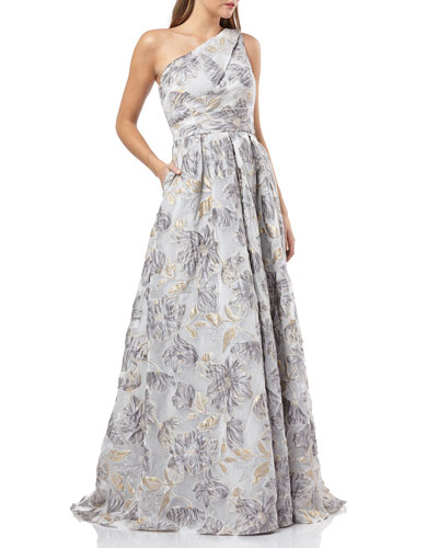 8b64cc0d9af383 One-Shoulder Metallic Organza Ball Gown Quick Look. Carmen Marc Valvo  Infusion