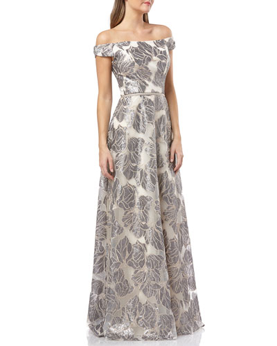 69acb908921102 Off-the-Shoulder Sequined Organza Ball Gown Quick Look. Carmen Marc Valvo  Infusion