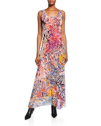 Printed Tulle Long Tank Dress