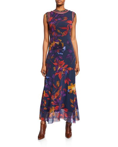 Floral-Print Sleeveless Long Tank Dress