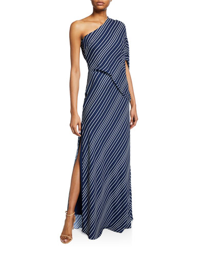 1d679247fa5c1 Striped One-Shoulder Asymmetric-Sleeve Gown Quick Look. Halston Heritage