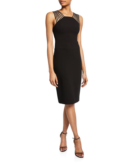 Square-Neck Sleeveless Crepe  Dress with Shoulder Strips