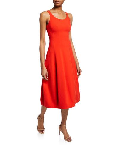 fa386692ff4 Scoop-Neck Sleeveless Fit- -Flare Midi Dress Quick Look. Halston Heritage