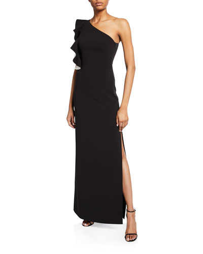 Flounce One-Shoulder Crepe Column Gown w/ Slit