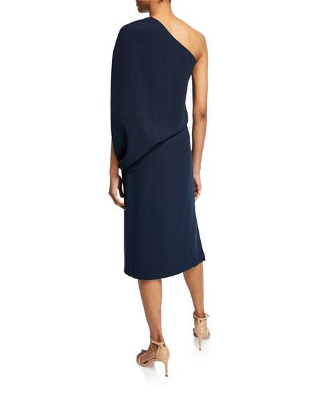 Draped One-Shoulder Asymmetric Dress