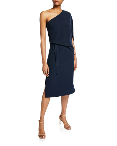 58c351ed2dd89 Draped One-Shoulder Asymmetric Dress Quick Look. Halston Heritage