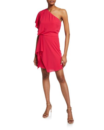 1e62654e11470f Flowy One-Shoulder Mini Dress with Draped Skirt Quick Look. Halston Heritage