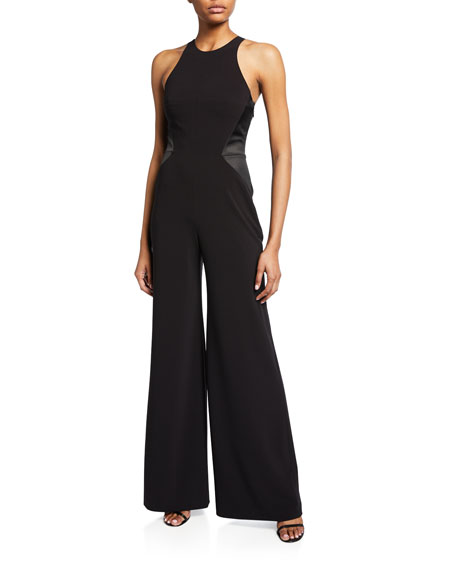 Sleeveless Halter-Neck Jumpsuit with Strap Detail