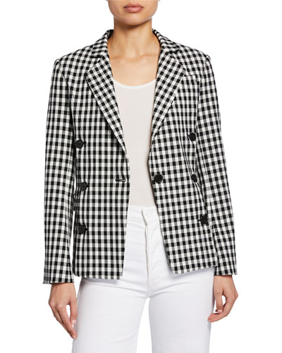 Checked Double-Breasted Blazer