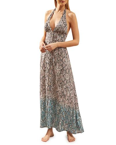 Mombasa Snake-Print Halter Maxi Dress