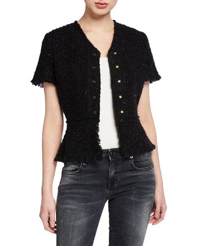 Short-Sleeve Tweed Jacket with Frayed Edges