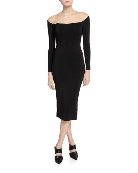 Off-the-Shoulder Illusion Long-Sleeve Sheer Yoke Midi Dress
