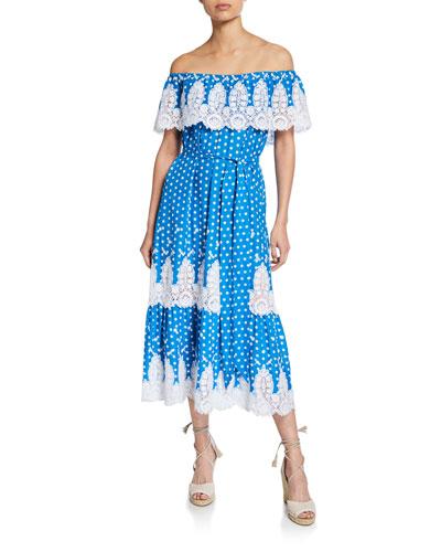 Liselle Dragonfly Embroidered Off-Shoulder Dress
