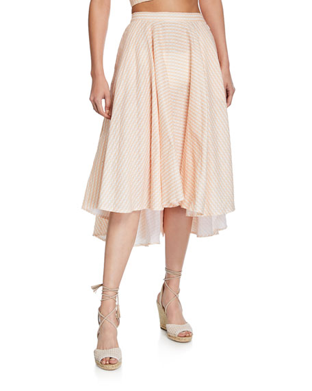 Miguelina Skirts JACKIE GINGHAM LINEN SKIRT
