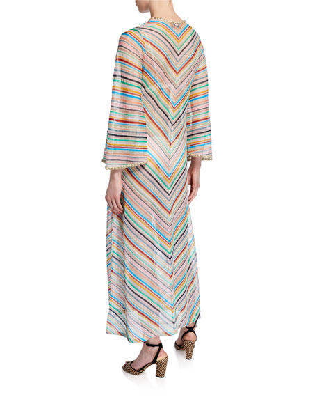 Stripped Long-Sleeve Coverup Dress