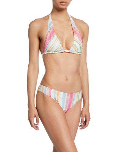 Striped Halter Two-Piece Bikini Set