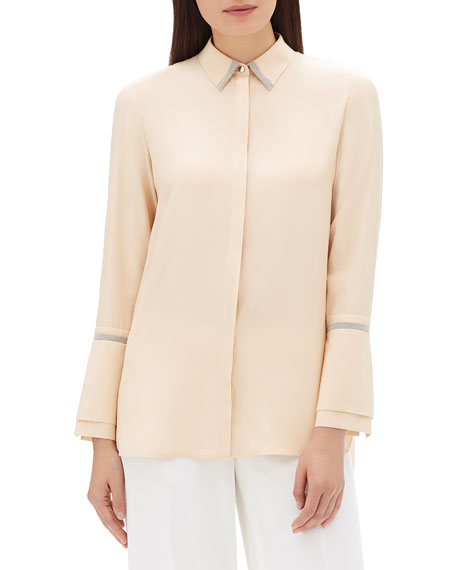 Lafayette 148 New York Katja Long-Sleeve Matte Silk