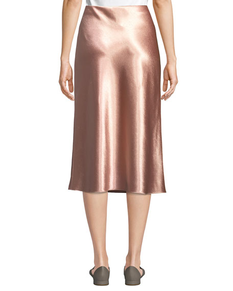 Bias-Cut Satin Midi-Length Slip Skirt