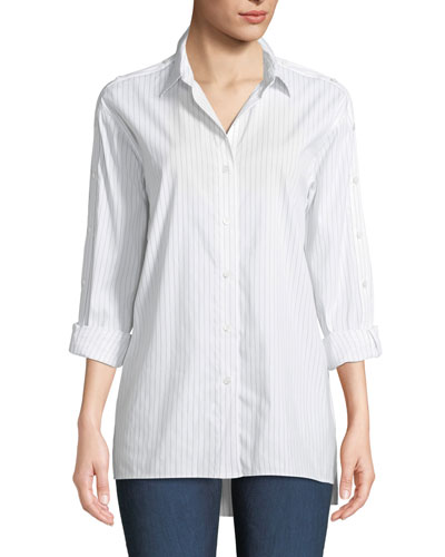 Trinity Stanford Stripe Blouse with Buttoned Sleeves