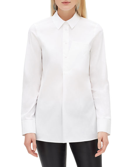 Lafayette 148 New York Casper Long-Sleeve Stretch-Cotton Blouse