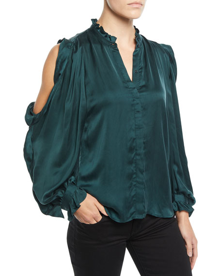 Cold-Shoulder Ruffle Button-Front Top