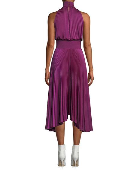 Renzo High-Neck Sleeveless Pleated Satin Midi Cocktail Dress