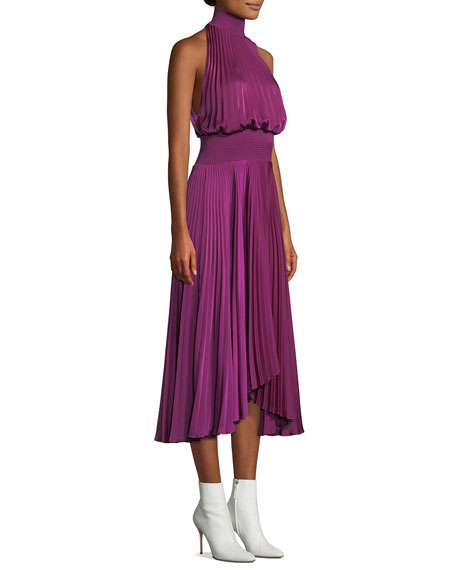 Renzo High-Neck Sleeveless Pleated Satin Midi Cocktail Dress
