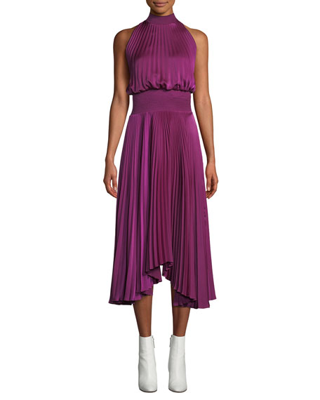 A.L.C. Renzo High-Neck Sleeveless Pleated Satin Midi Cocktail