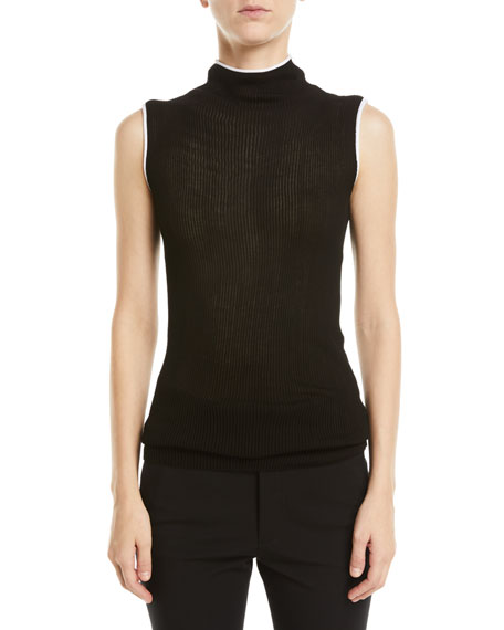Helmut Lang Sheer Rib-Knit Turtleneck Tank