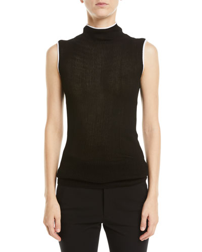 Sheer Rib-Knit Turtleneck Tank