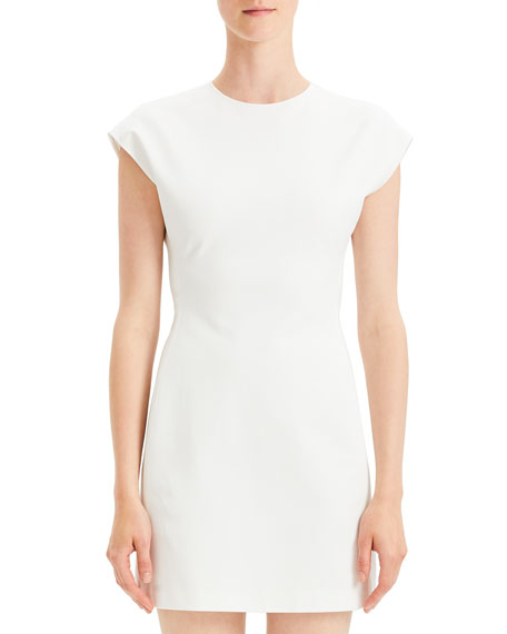 Structured Double-Stretch Fitted Short-Sleeve Dress