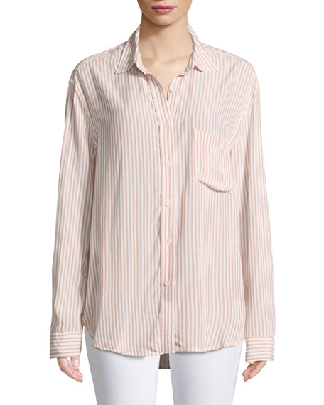 High-Low Tie Long-Sleeve Button-Front Striped Shirt