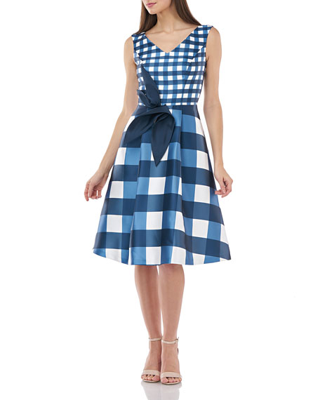 Image 1 of 1: Gingham Mikado Sleeveless Dress w/ 3D Architectural Flower Detail