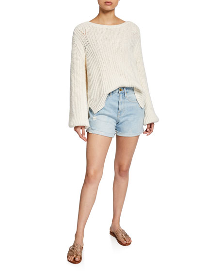 Le Brigette Cuffed Raw-Edge Shorts