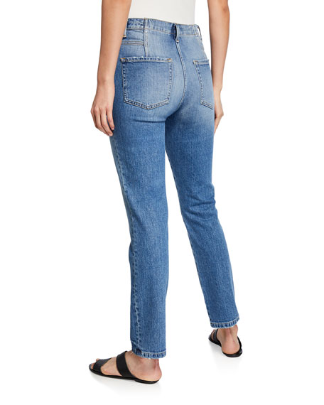 Retro V-Yoke Straight-Leg Jeans