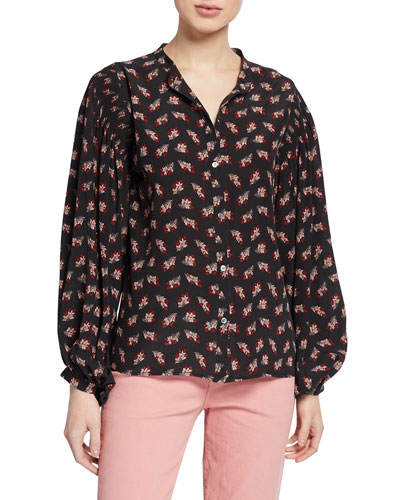 Smocked Vintage Printed Button-Front Top