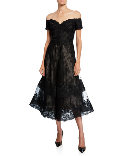 e9b23624fc Off-the-Shoulder Sweetheart Short-Sleeve Lace Overlay Illusion Dress Quick  Look. Rickie Freeman for Teri Jon