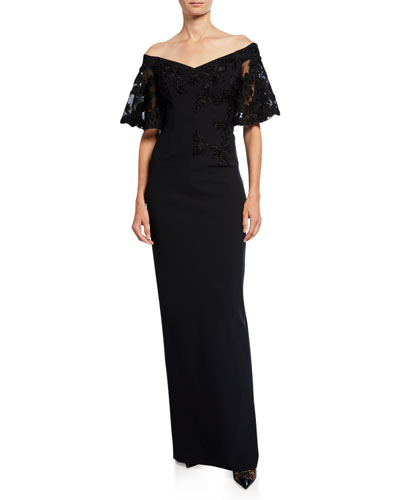 3af5e94351d32 Off-the-Shoulder Embroidered Short-Sleeve Crepe Column Gown Quick Look. Rickie  Freeman ...