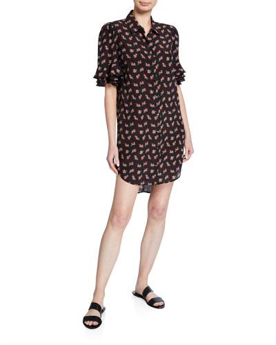 Printed Button-Front Ruffle-Sleeve Silk Shirtdress