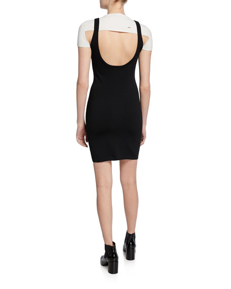 Layered Open-Back Knitted Logo Fitted Dress