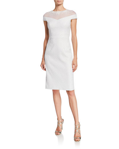 e9d9197b01d Beaded Illusion Stretch Jacquard Cap-Sleeve Sheath Dress Quick Look. Rickie  Freeman for Teri Jon