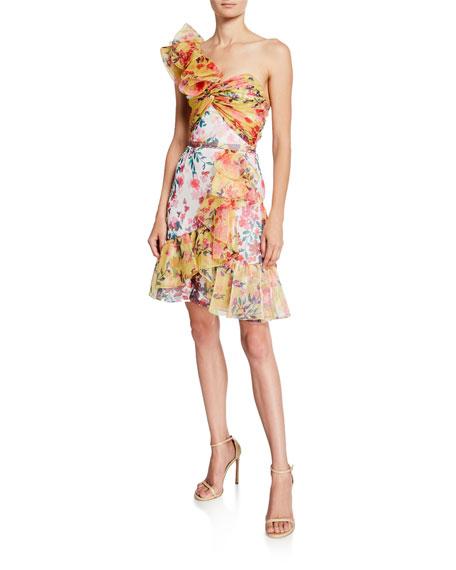 Marchesa Notte Colorblock Floral-Print One-Shoulder Twisted